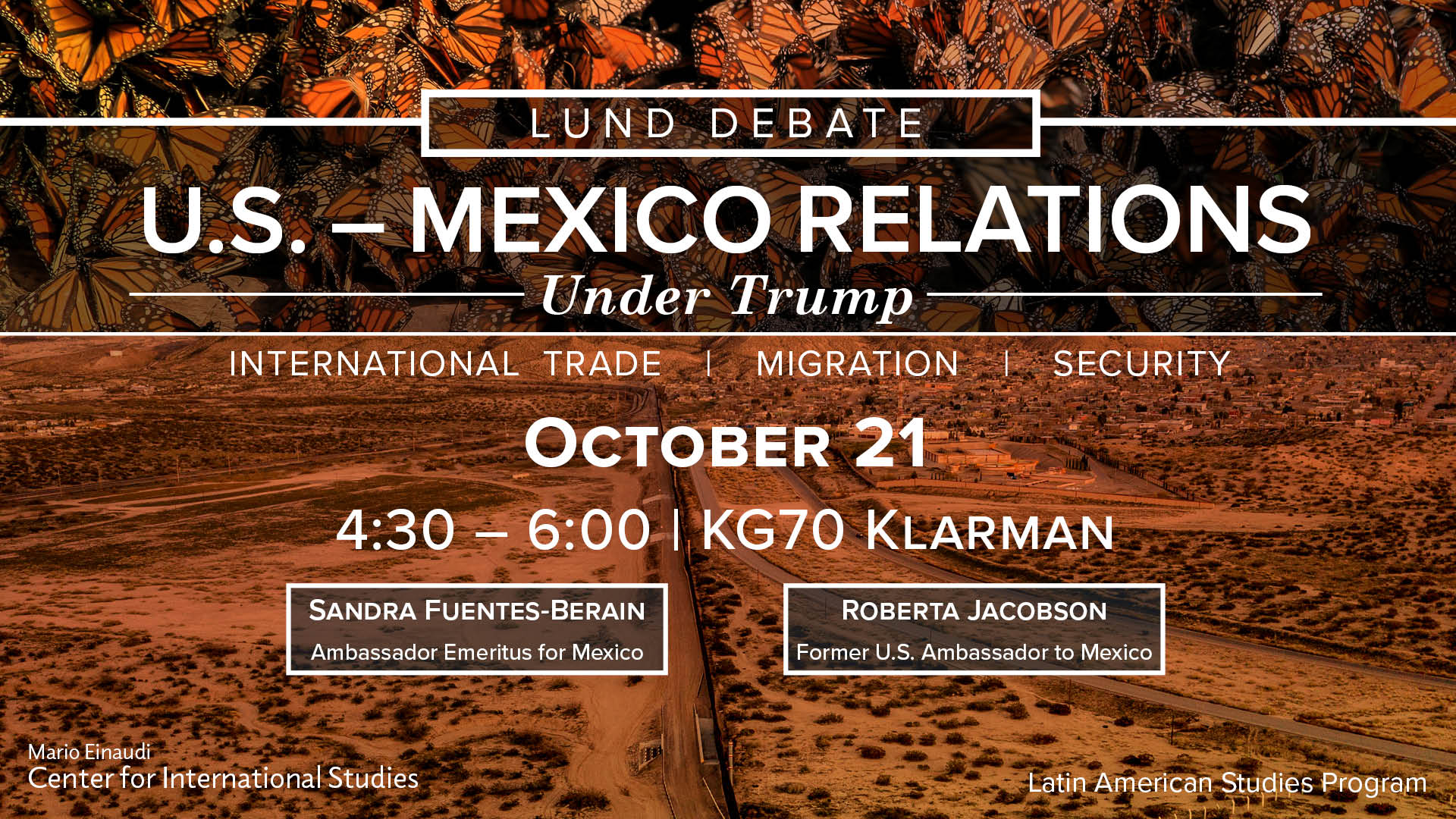 Lund Debate 2019 poster, U.S.-Mexico border and butterflies