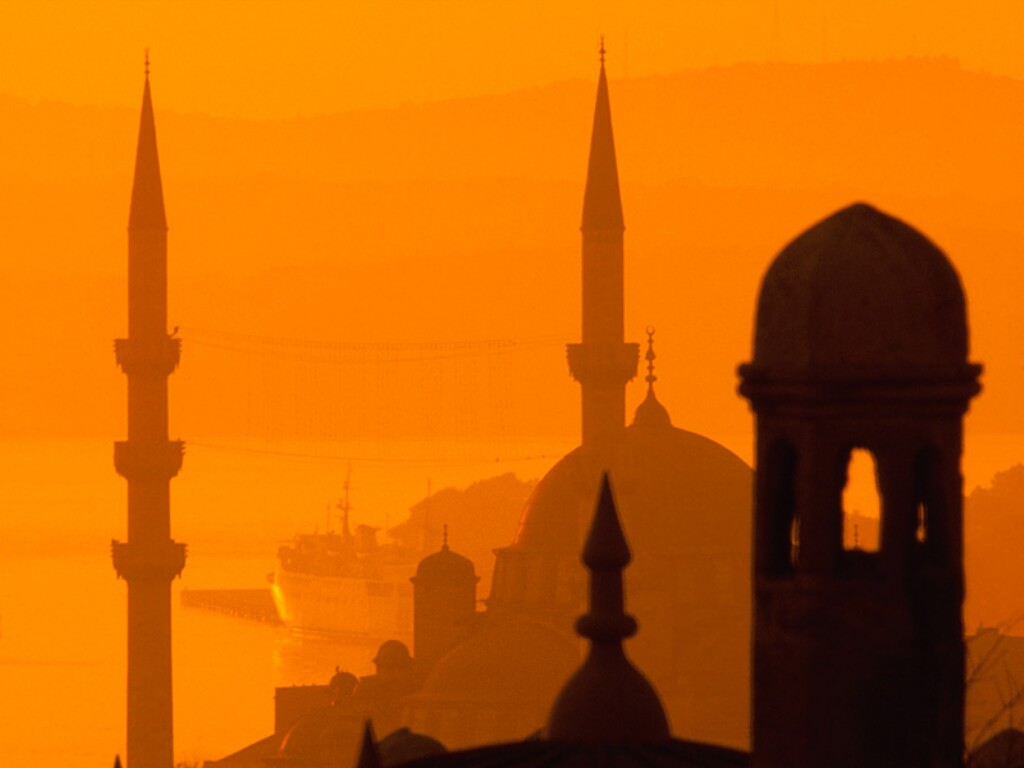 A mosque in the orange haze of a sunset